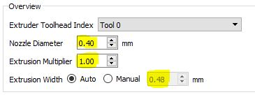Extruder Calibration Settings